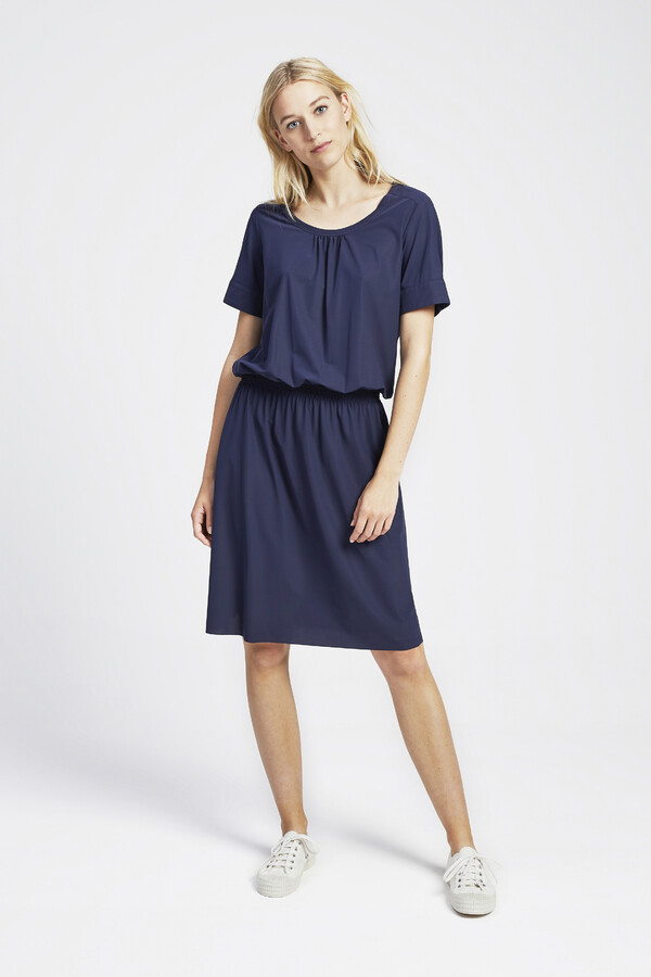 ELASTIC WAIST DRESS SMOKEY BLUE