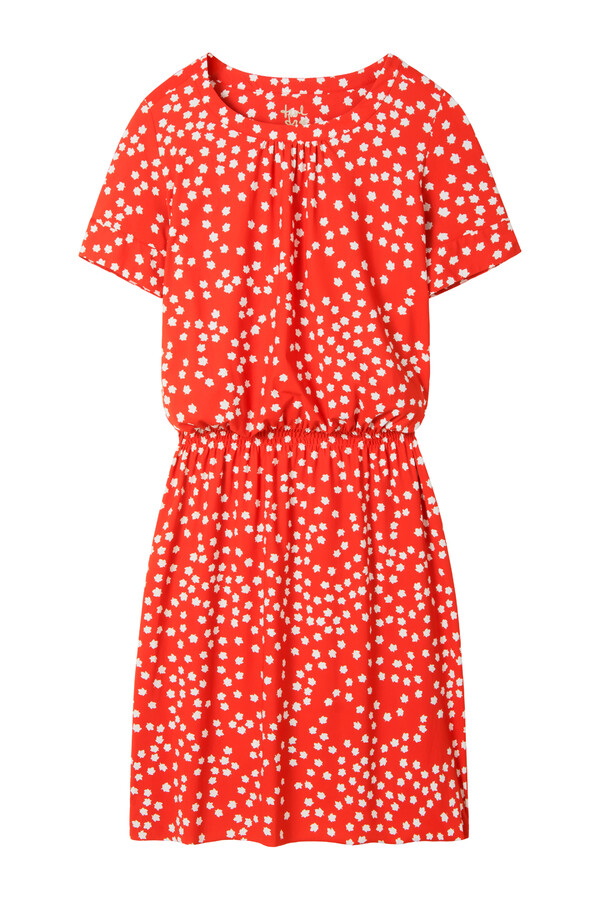 ELASTIC WAIST DRESS PRINT ORANGE