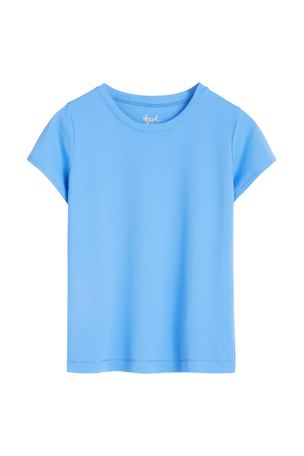PIQUE ROUND NECK TEE AIR BLUE