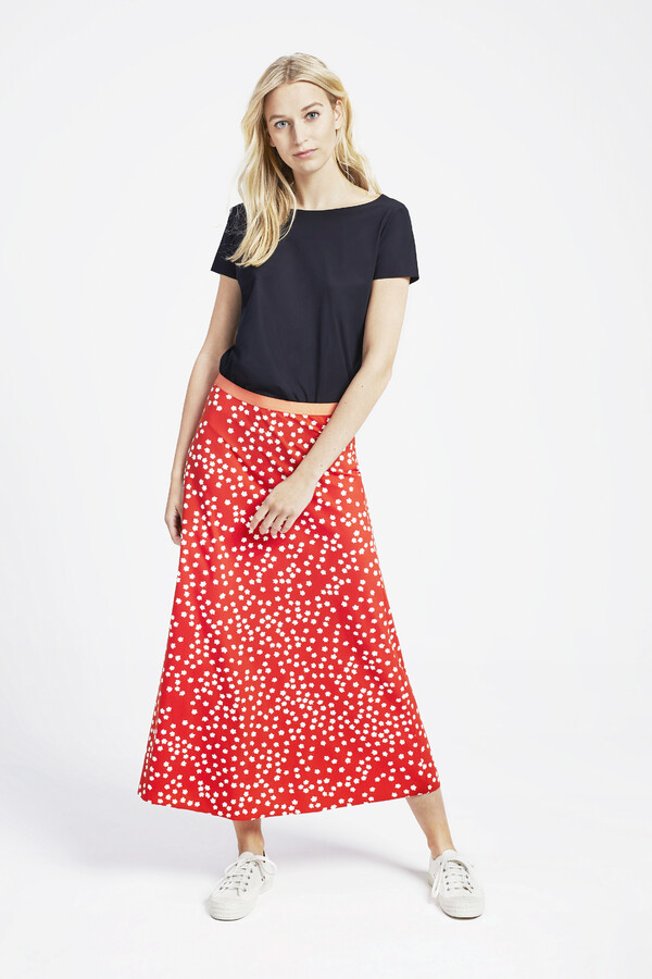FLAIR SKIRT PRINT ORANGE