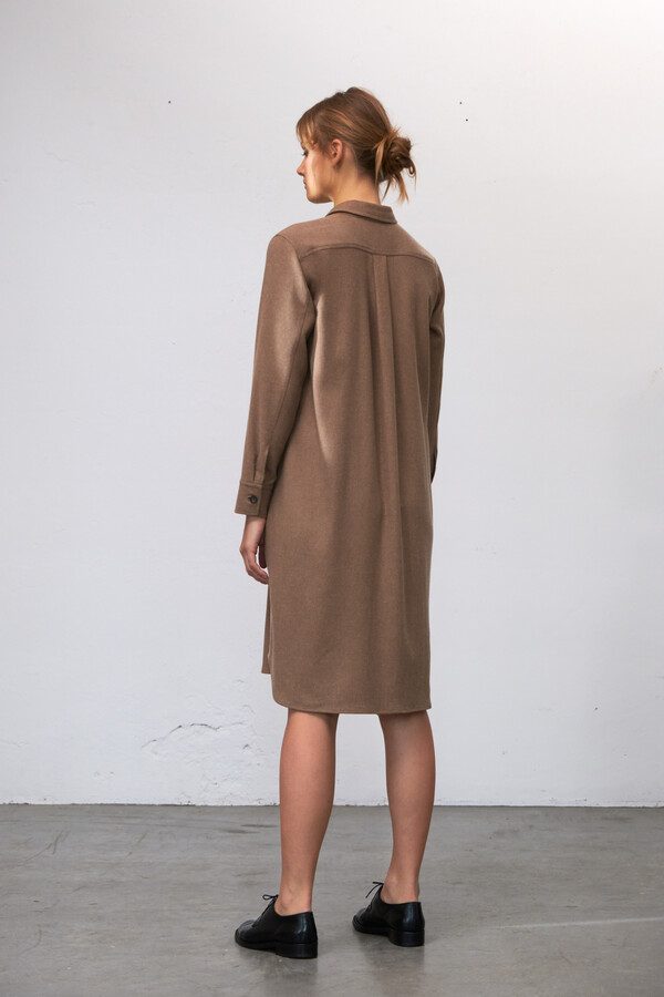 FLANNEL POLO DRESS CAMEL
