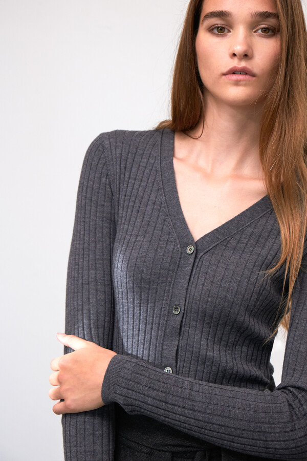 CARDI RIB KNIT CASHMERE MIX GREY