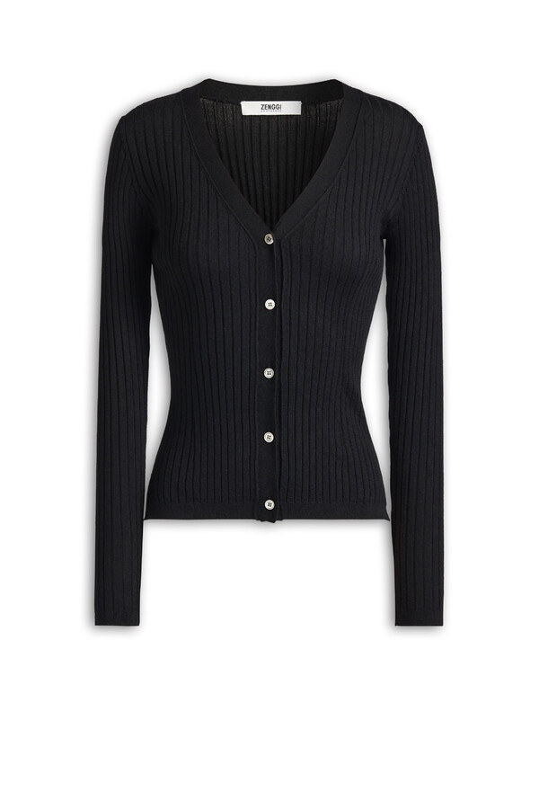 CARDI RIB KNIT CASHMERE MIX BLACK