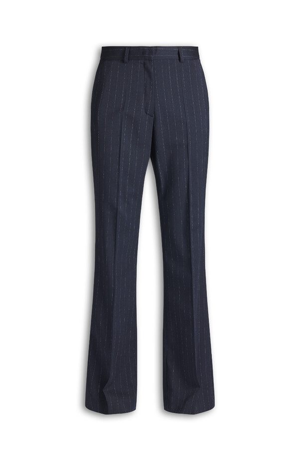 PIN STRIPE FITTED KAREN PANTS MIDNIGHT BLUE