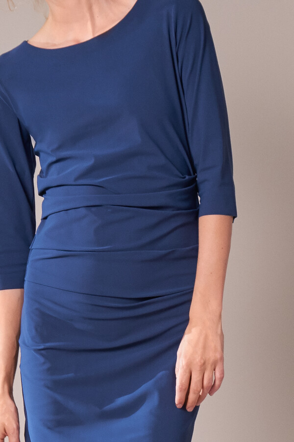 RUCHED DRESS DEEP BLUE