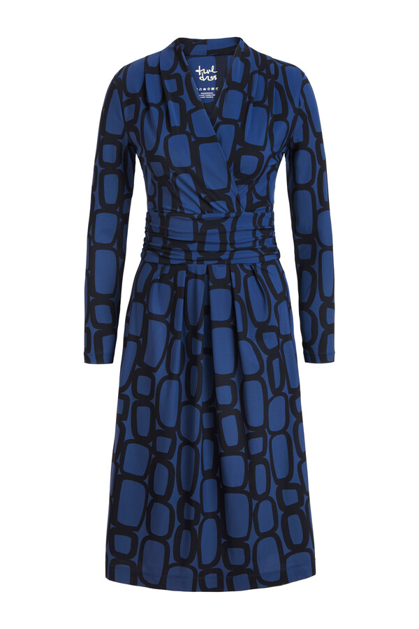 DRAPED WAIST DRESS CHAIN PRINT DEEP BLUE