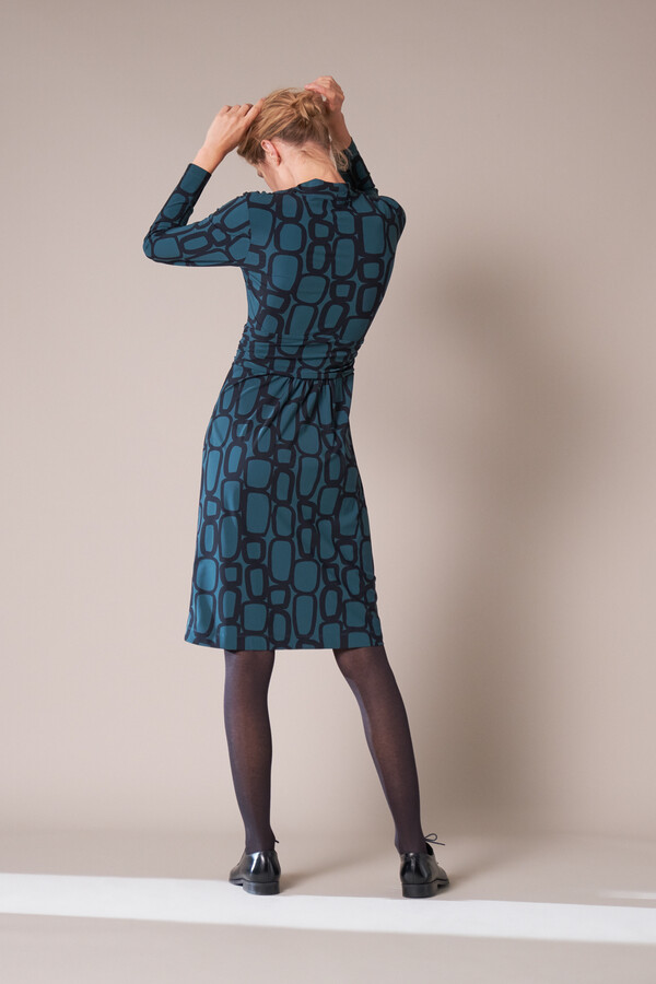 DRAPED WAIST DRESS CHAIN PRINT DEEP TEAL