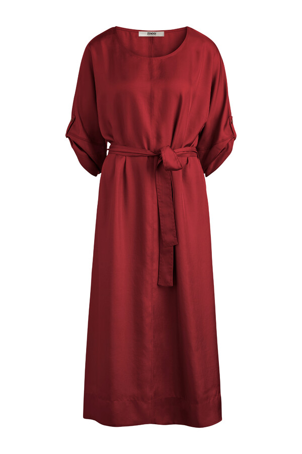 RELAXED WIDE SILKY DRESS CARDINALE
