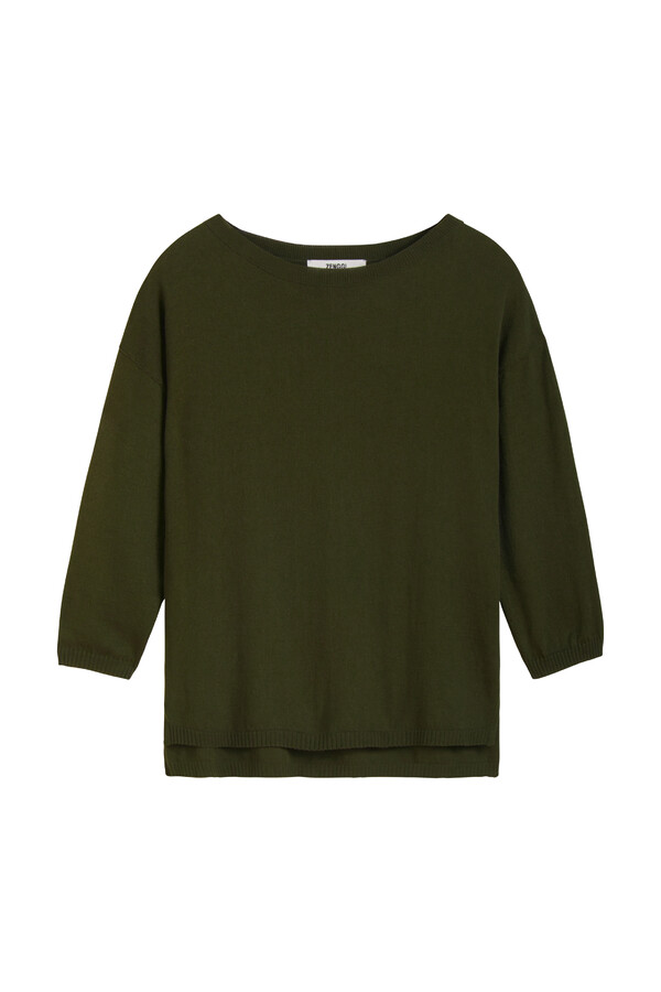COTTON CREW TOP DARK GREEN
