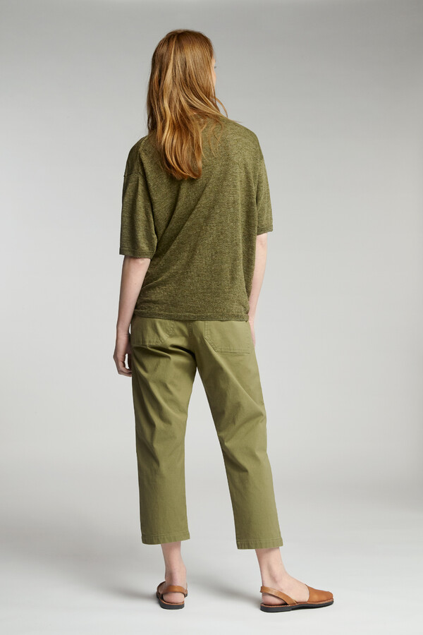 LINEN SHORT-SLEEVE CREW SAFARI GREEN