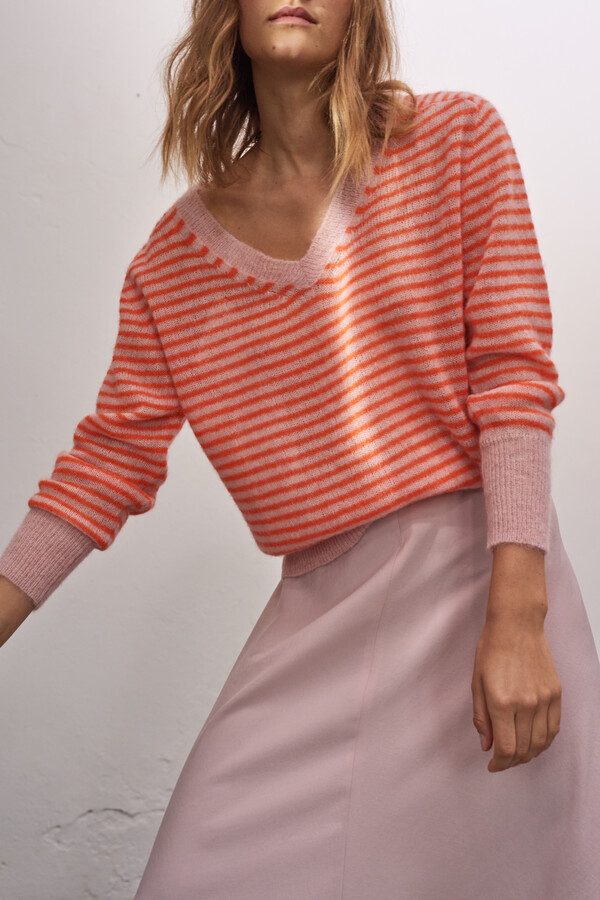 SUMMER ALPACA V-NECK PAPAYA STRIPE
