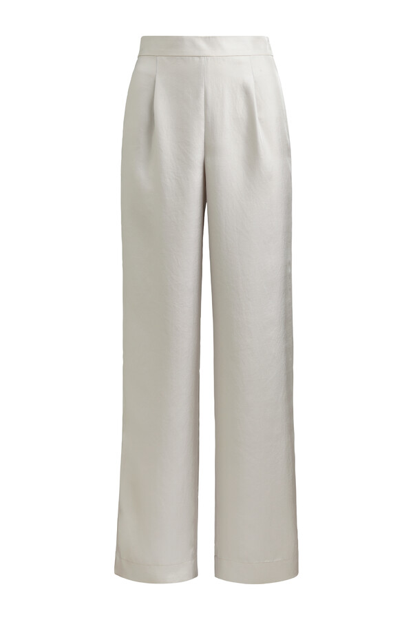 LOOSE FIT SILKY PANTS EGGSHELL