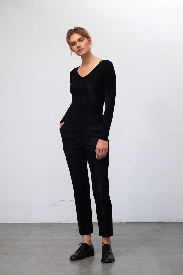 V-NECK RIB KNIT CASHMERE MIX BLACK