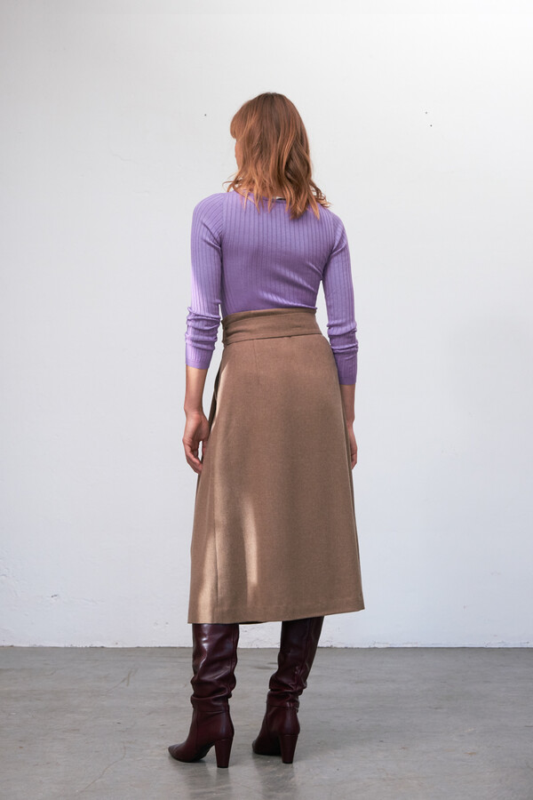 V-NECK RIB KNIT CASHMERE MIX ORCHID